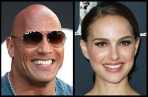 side by side comparison of The Rock and Natalie Portman smiling